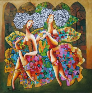 070. Two muses having a coffee break (2013) 60x60