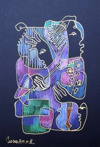Duet & mandolin-15x21cm,India white ink