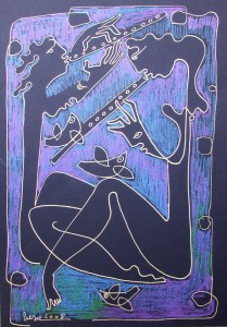 The flute player -30x41cm,India ink & pastel