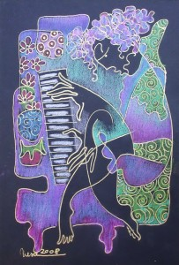The piano player,15x20cm,India ink&pastel